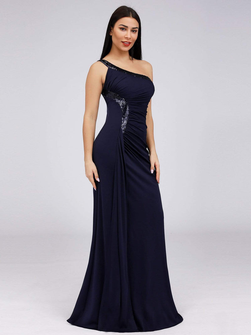 Women'S One Shoulder Side Split Sequin Dress Evening Dress-Navy Blue 2