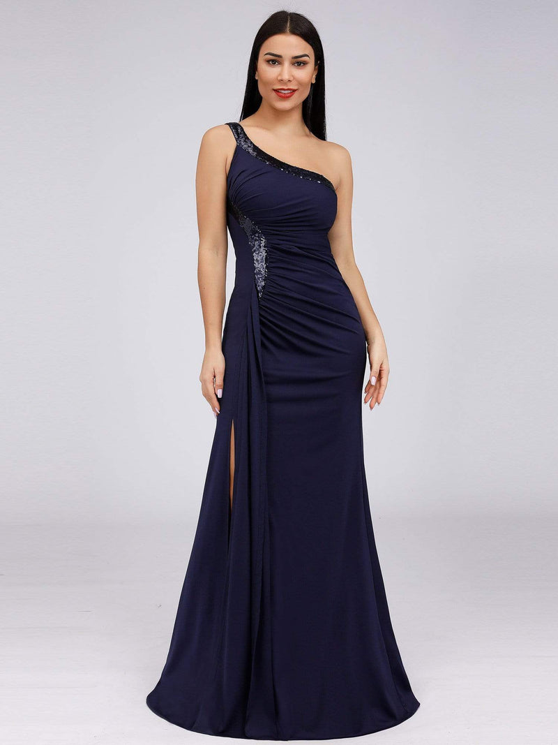 Women'S One Shoulder Side Split Sequin Dress Evening Dress-Navy Blue 4