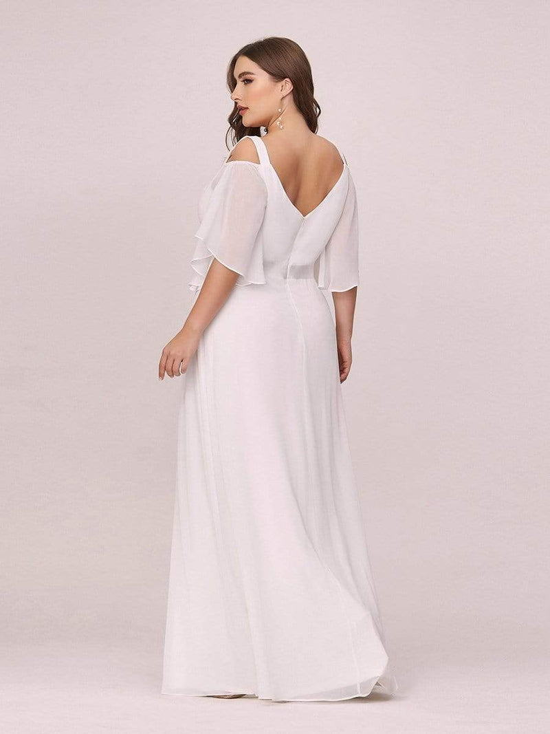 Women'S Off Shoulder Floor Length Bridesmaid Dress With Ruffle Sleeves-Cream 2
