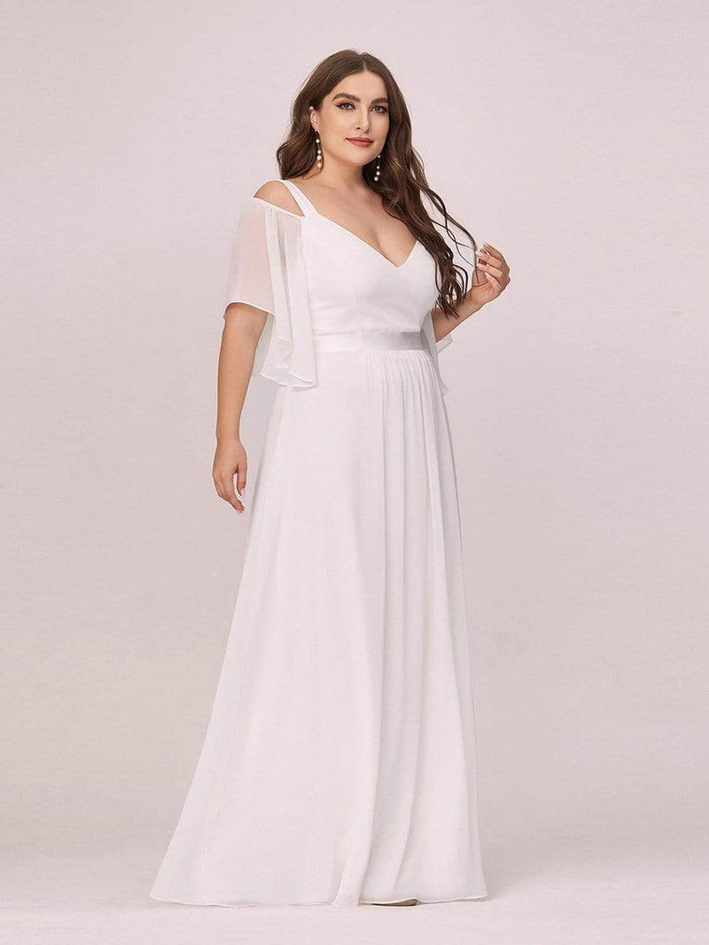 Women'S Off Shoulder Floor Length Bridesmaid Dress With Ruffle Sleeves-Cream 4