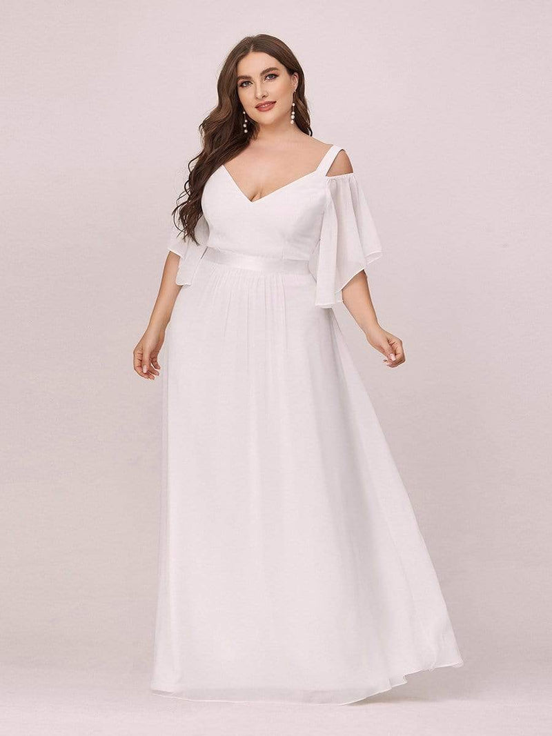 Women'S Off Shoulder Floor Length Bridesmaid Dress With Ruffle Sleeves-Cream 5