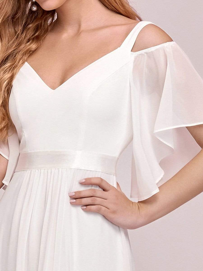 Women'S Off Shoulder Floor Length Bridesmaid Dress With Ruffle Sleeves-Cream 3