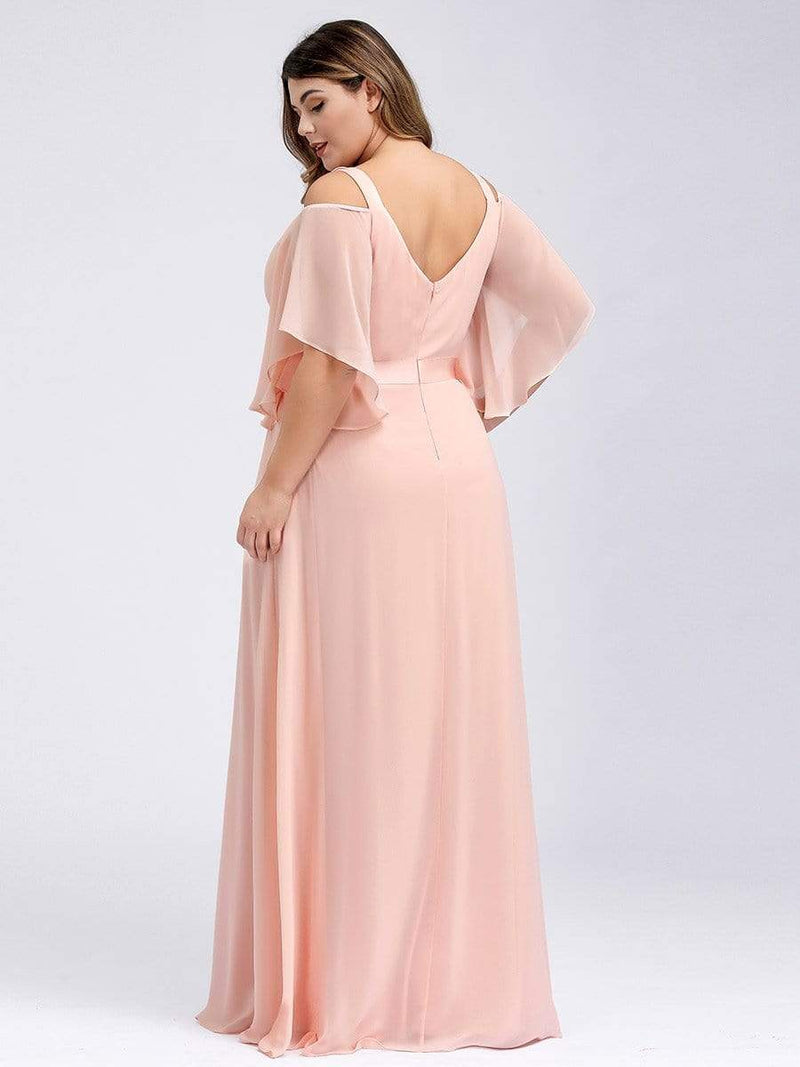 Women'S Off Shoulder Floor Length Bridesmaid Dress With Ruffle Sleeves-Pink 18