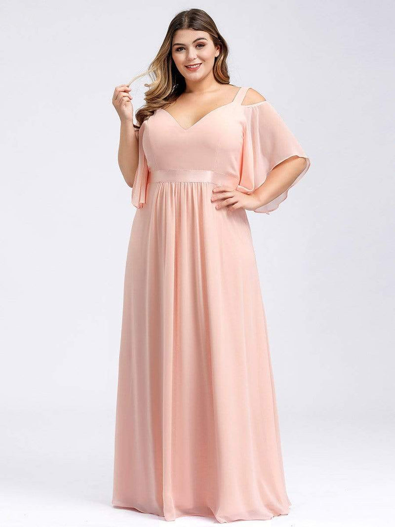 Women'S Off Shoulder Floor Length Bridesmaid Dress With Ruffle Sleeves-Pink 17