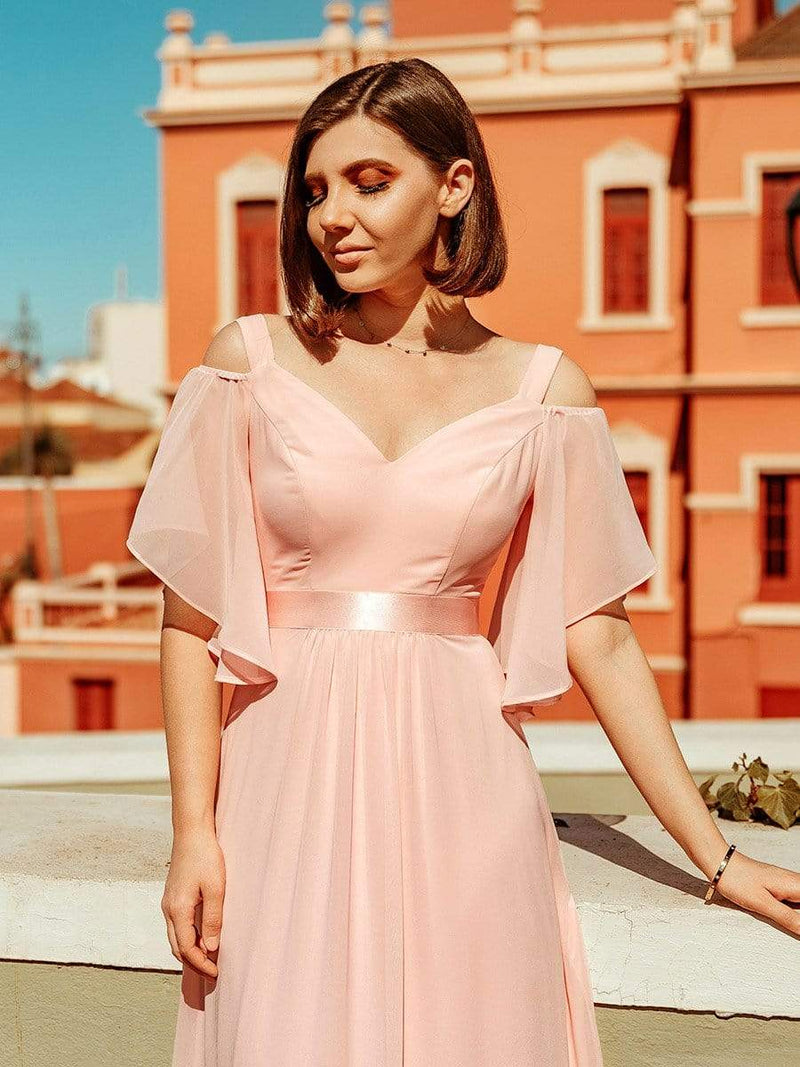 Women'S Off Shoulder Floor Length Bridesmaid Dress With Ruffle Sleeves-Pink 3