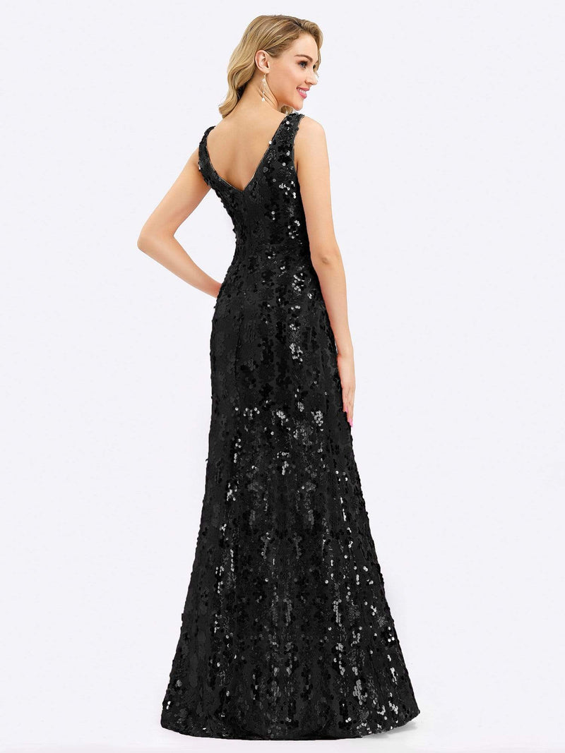 Mermaid Sequin Dresses For Women-Black 2