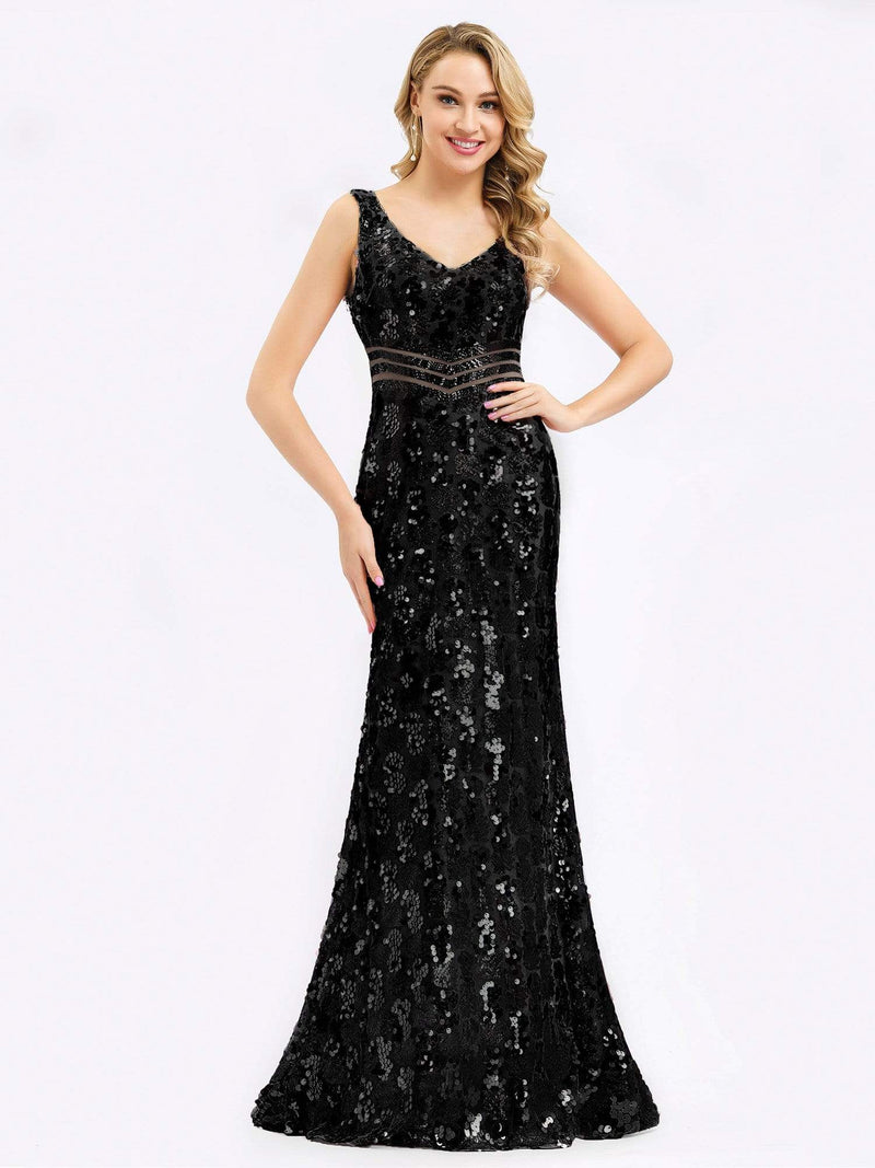 Mermaid Sequin Dresses For Women-Black 1