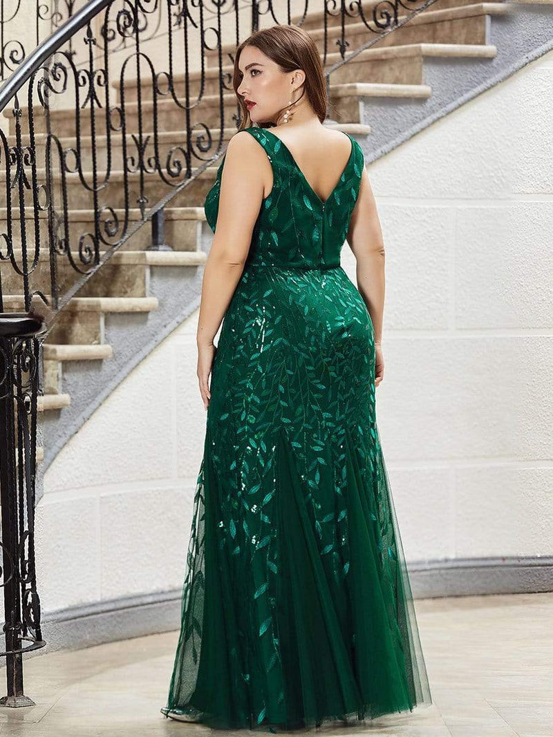 Women'S Double V-Neck Fishtail Seuqin Evening Maxi Dress-Dark Green 5