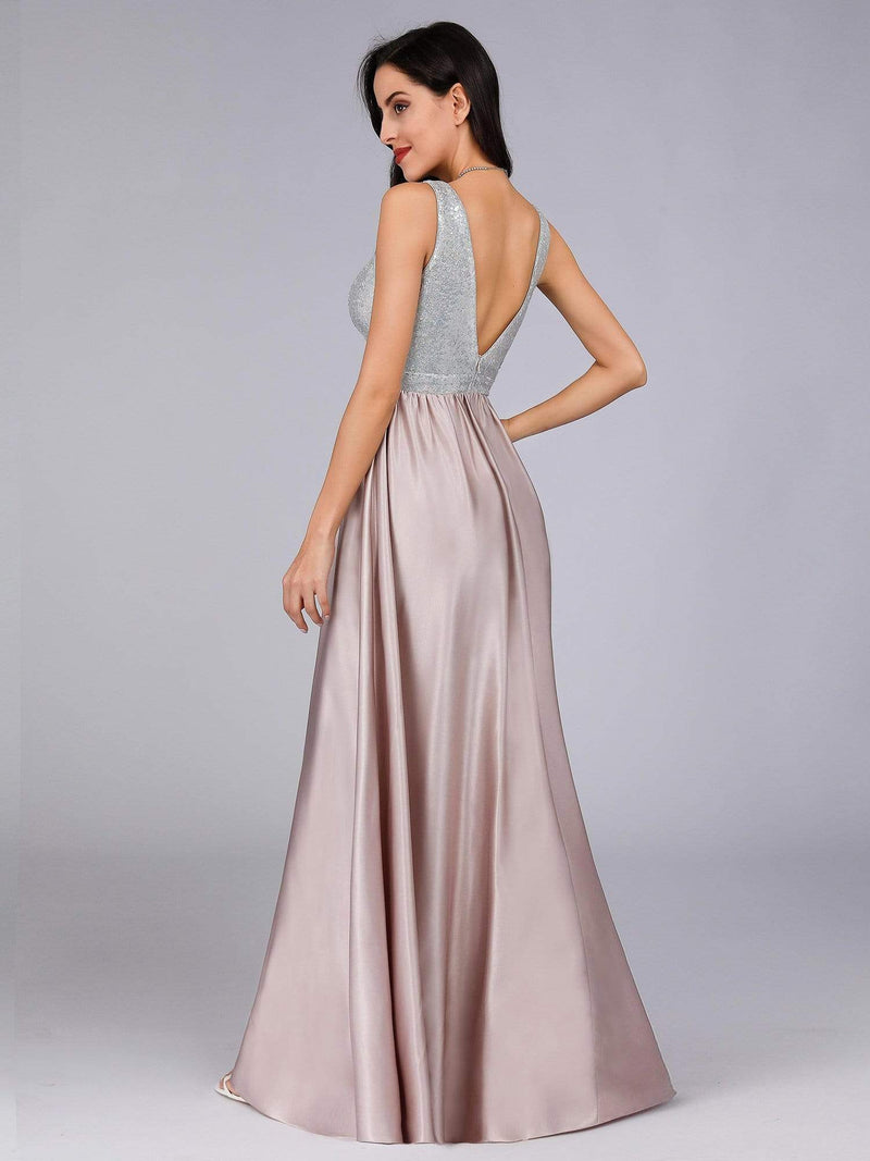 Women V Neck Paillette Floor Length Evening Dresses-Blush 6