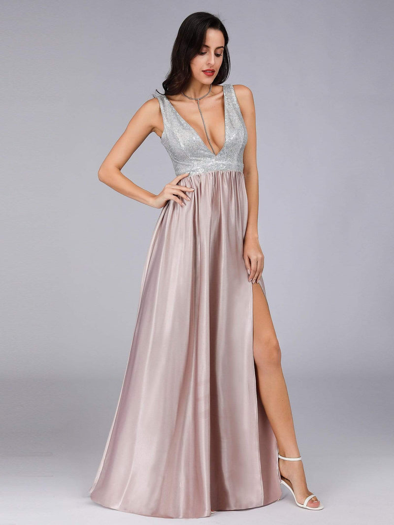 Women V Neck Paillette Floor Length Evening Dresses-Blush 7