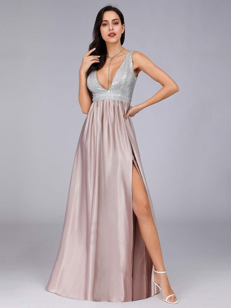 Women V Neck Paillette Floor Length Evening Dresses-Blush 5
