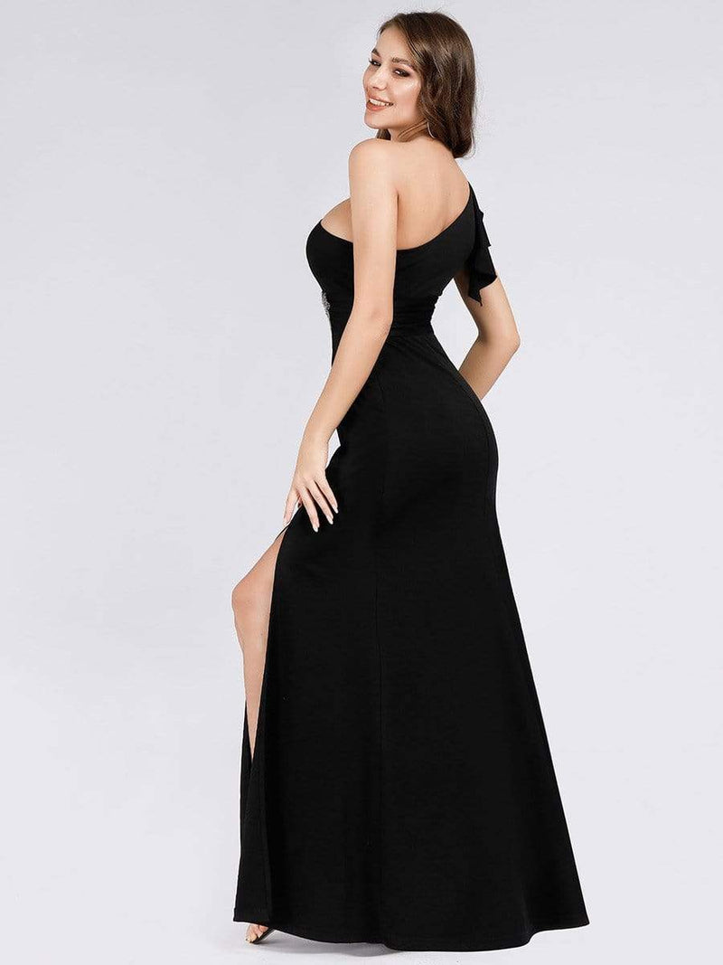 Fashion One Shoulder High Slit Party Dress-Black 4
