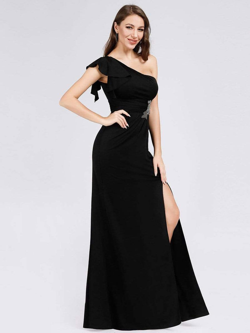 Fashion One Shoulder High Slit Party Dress-Black 2