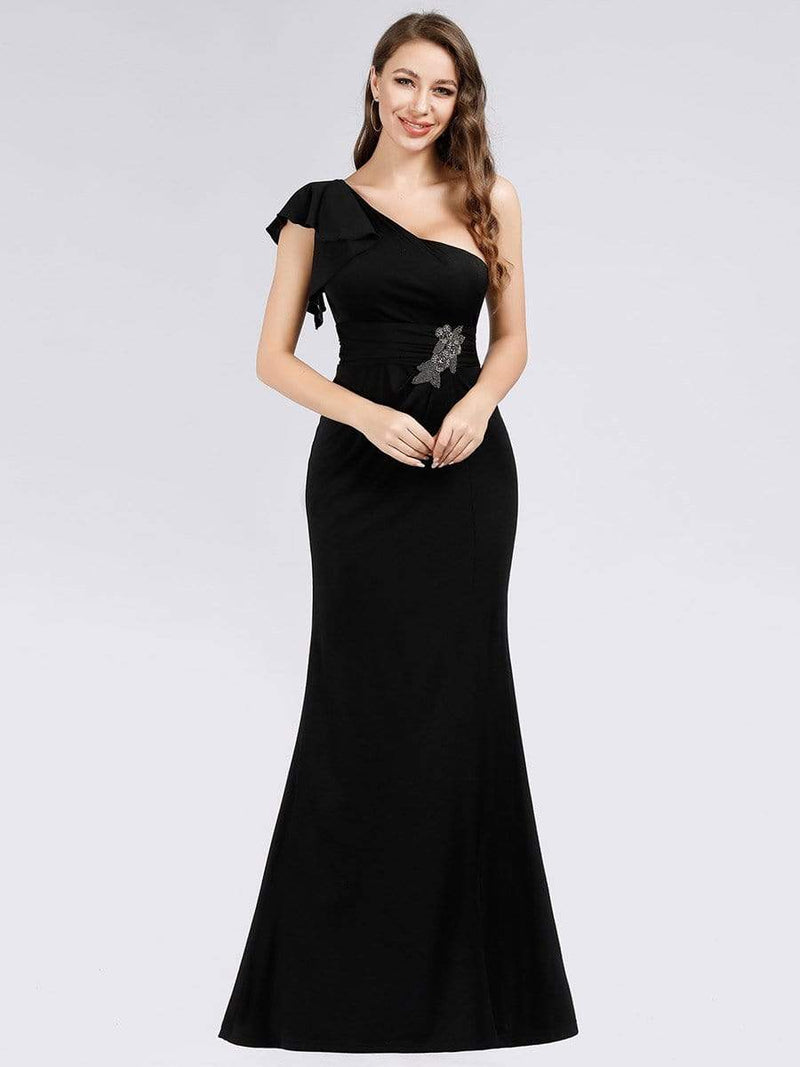Fashion One Shoulder High Slit Party Dress-Black 3
