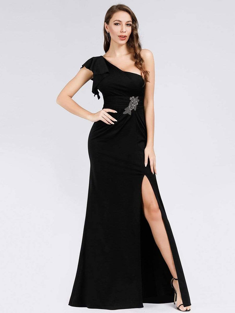Fashion One Shoulder High Slit Party Dress-Black 1