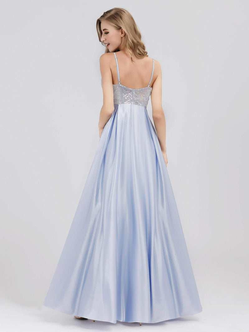 Women'S A-Line V-Neck Beaded Floor Length Evening Dress-Sky Blue 2