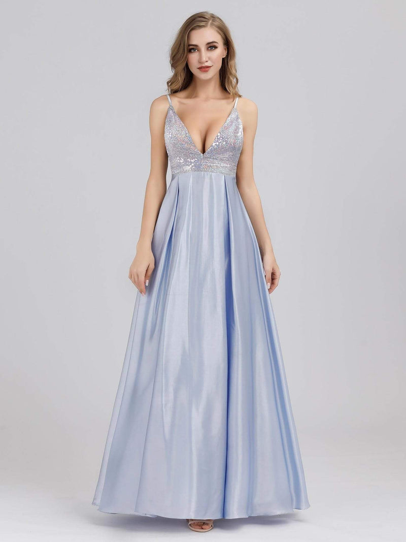 Women'S A-Line V-Neck Beaded Floor Length Evening Dress-Sky Blue 4