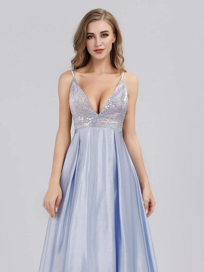 Women'S A-Line V-Neck Beaded Floor Length Evening Dress-Sky Blue 5