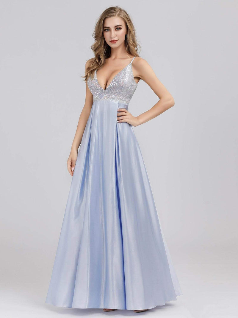 Women'S A-Line V-Neck Beaded Floor Length Evening Dress-Sky Blue 1