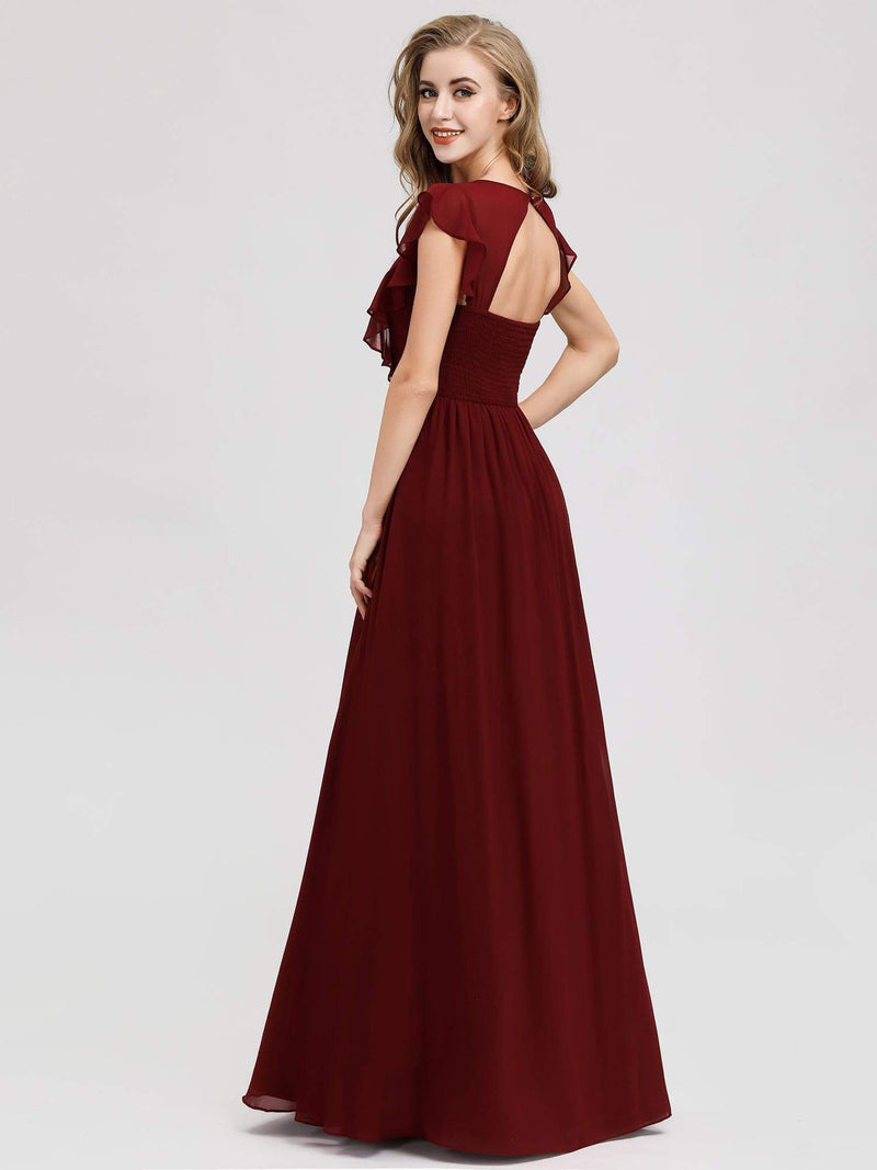 Women'S A-Line V-Neck Sleeveless Wedding Party Bridesmaid Dress-Burgundy 2