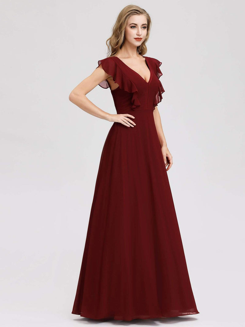 Women'S A-Line V-Neck Sleeveless Wedding Party Bridesmaid Dress-Burgundy 3