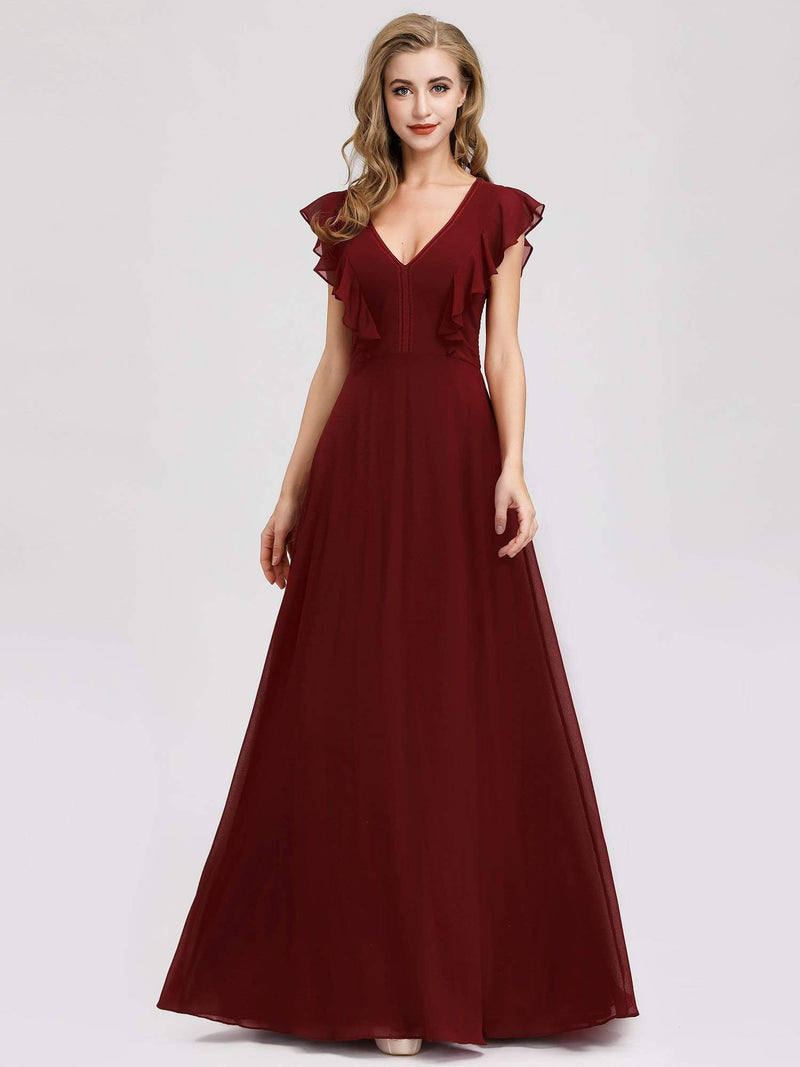Women'S A-Line V-Neck Sleeveless Wedding Party Bridesmaid Dress-Burgundy 4
