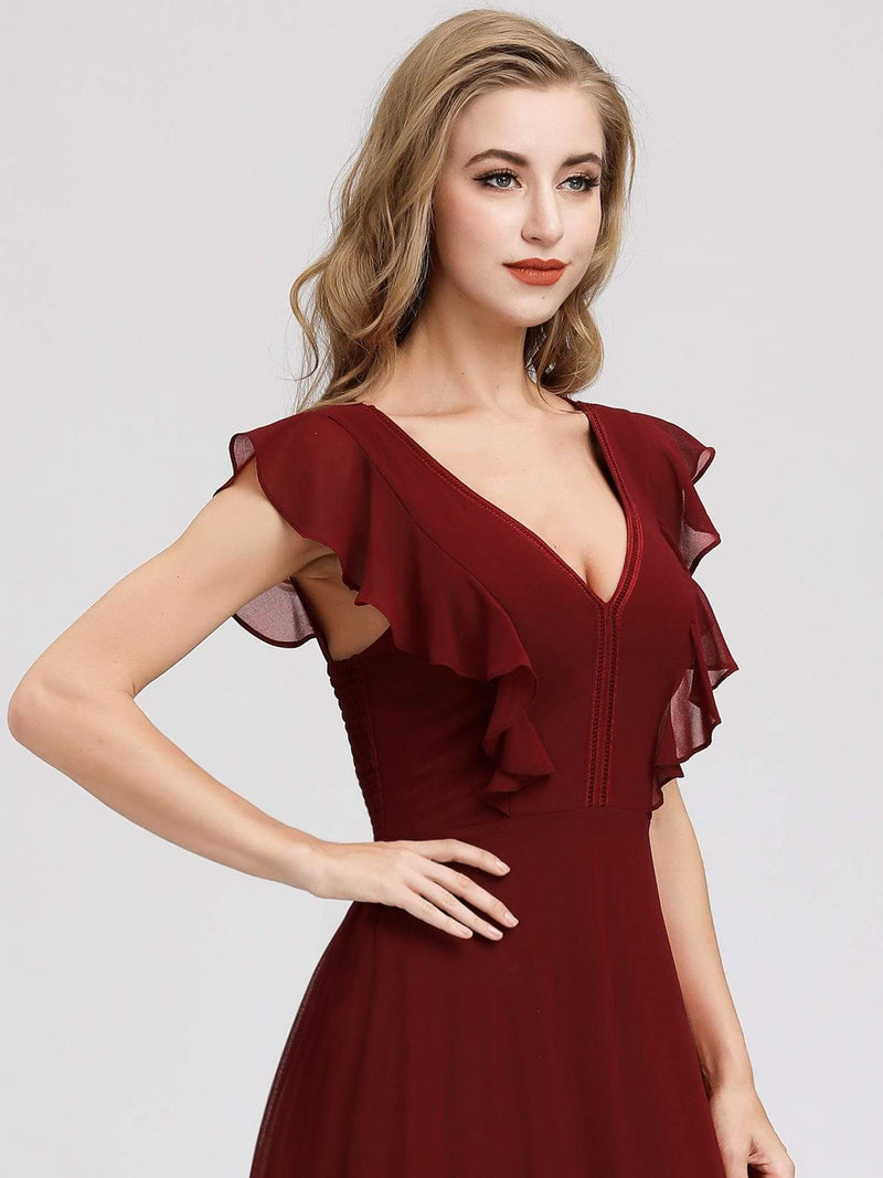 Women'S A-Line V-Neck Sleeveless Wedding Party Bridesmaid Dress-Burgundy 5