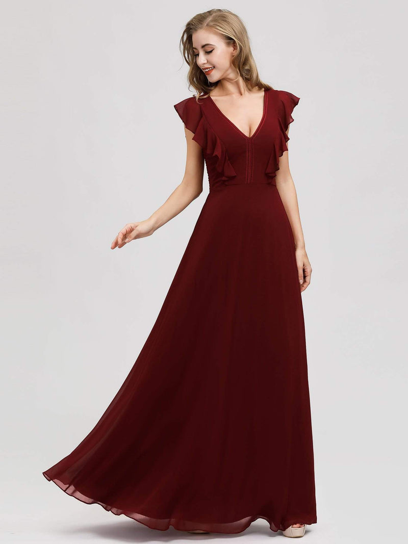 Women'S A-Line V-Neck Sleeveless Wedding Party Bridesmaid Dress-Burgundy 1