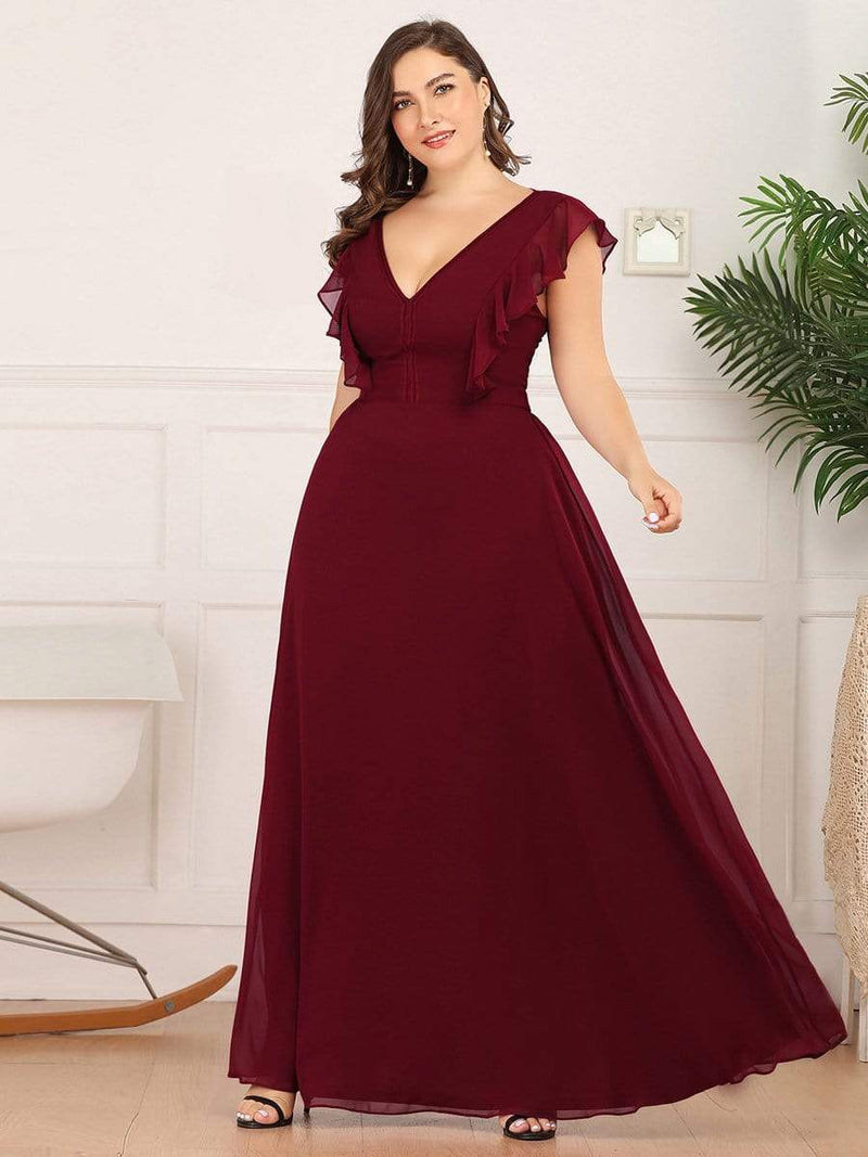 Women'S A-Line V-Neck Sleeveless Wedding Party Bridesmaid Dress-Burgundy 9