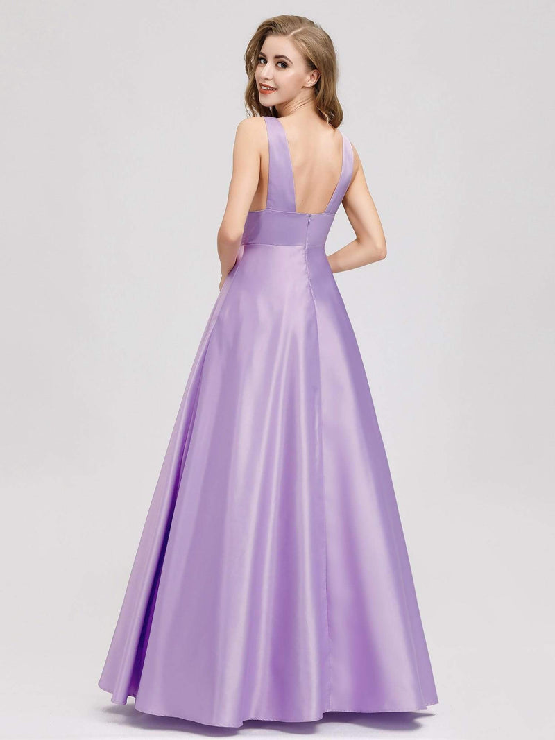 Women Fashion Deep V Neck A-Line Evening Dress-Lavender 1