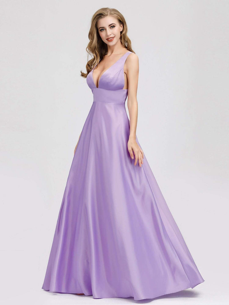 Women Fashion Deep V Neck A-Line Evening Dress-Lavender 2
