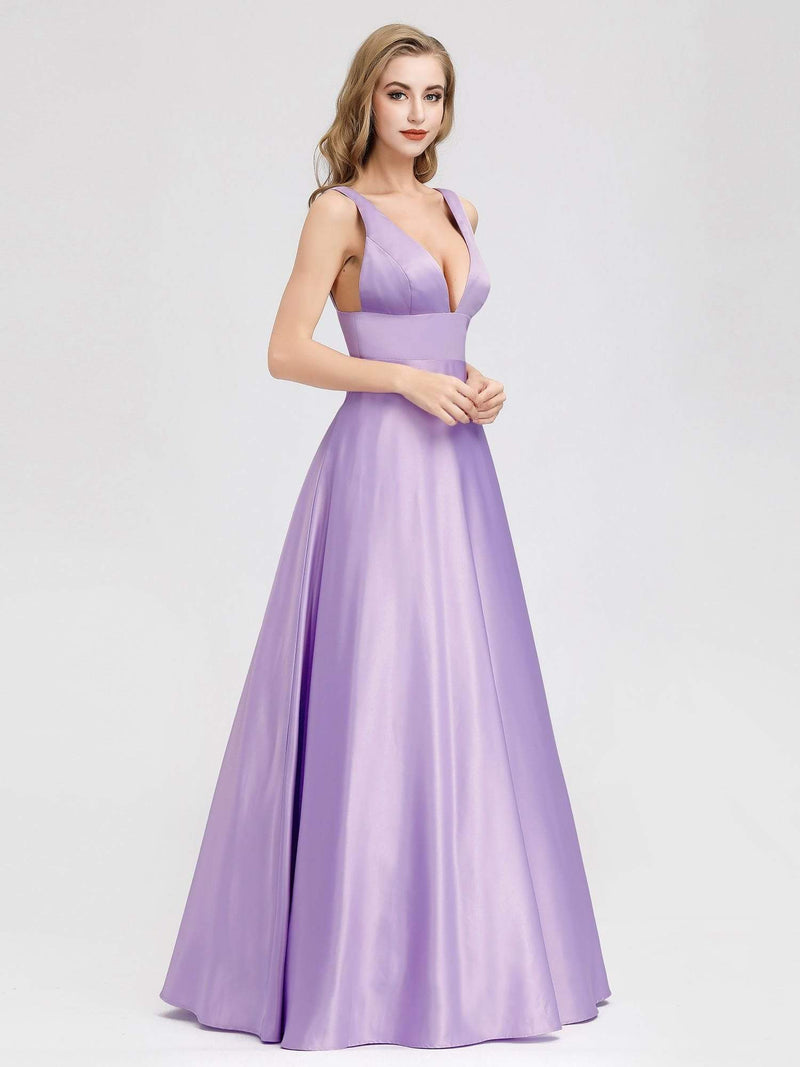 Women Fashion Deep V Neck A-Line Evening Dress-Lavender 4