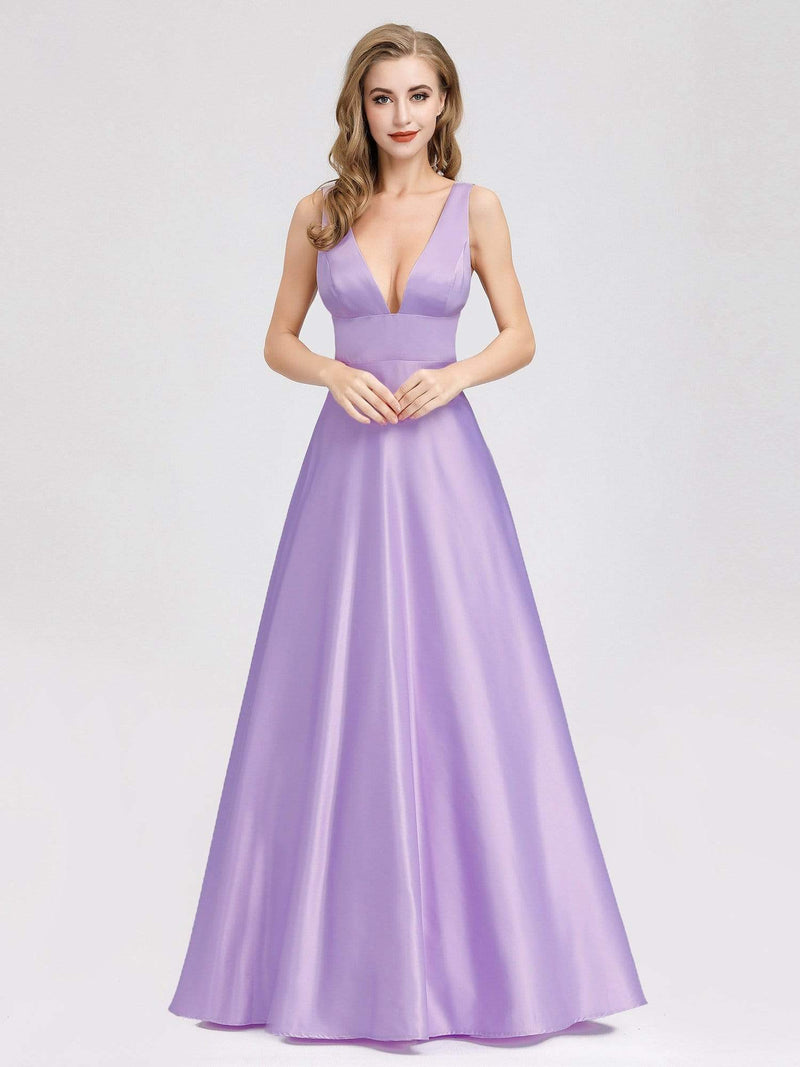 Women Fashion Deep V Neck A-Line Evening Dress-Lavender 3