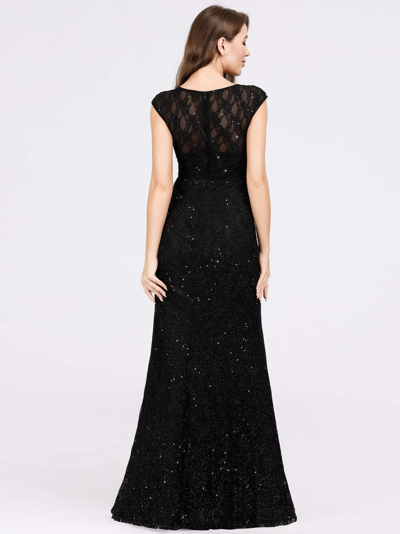 Women'S V-Neck Glitter Sequin Dress Bodycon Maxi Evening Dress-Black 4