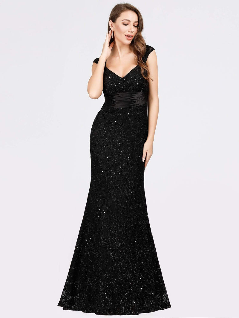 Women'S V-Neck Glitter Sequin Dress Bodycon Maxi Evening Dress-Black 3