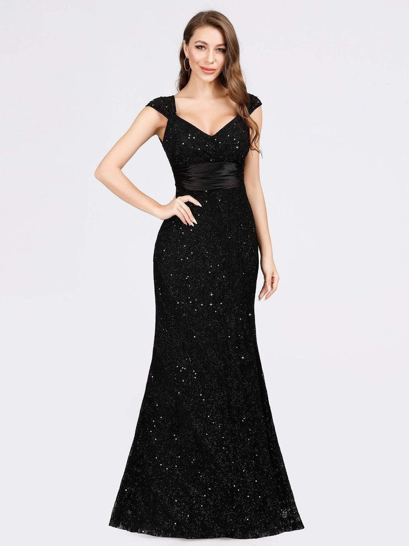 Women'S V-Neck Glitter Sequin Dress Bodycon Maxi Evening Dress-Black 1