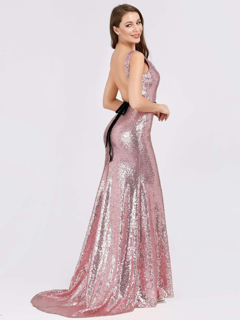 Backless Sequin Fishtail Dresses With Side Split-Purple Orchid 2