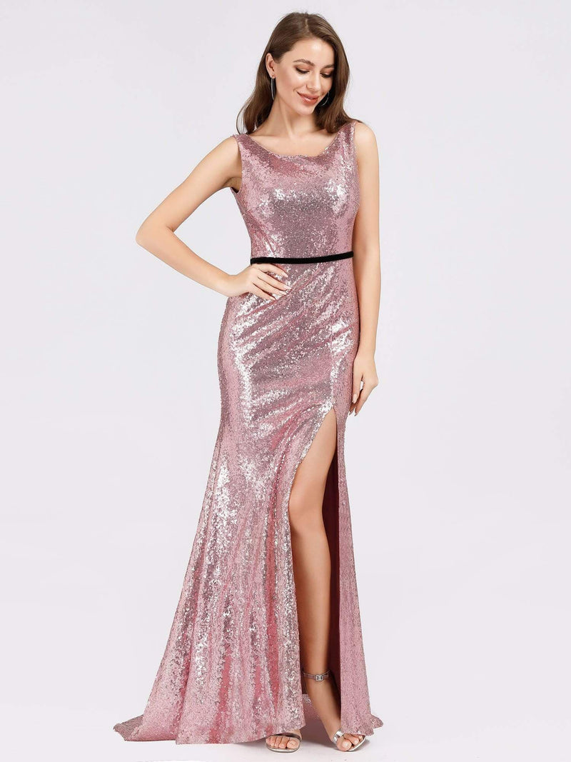 Backless Sequin Fishtail Dresses With Side Split-Purple Orchid 3