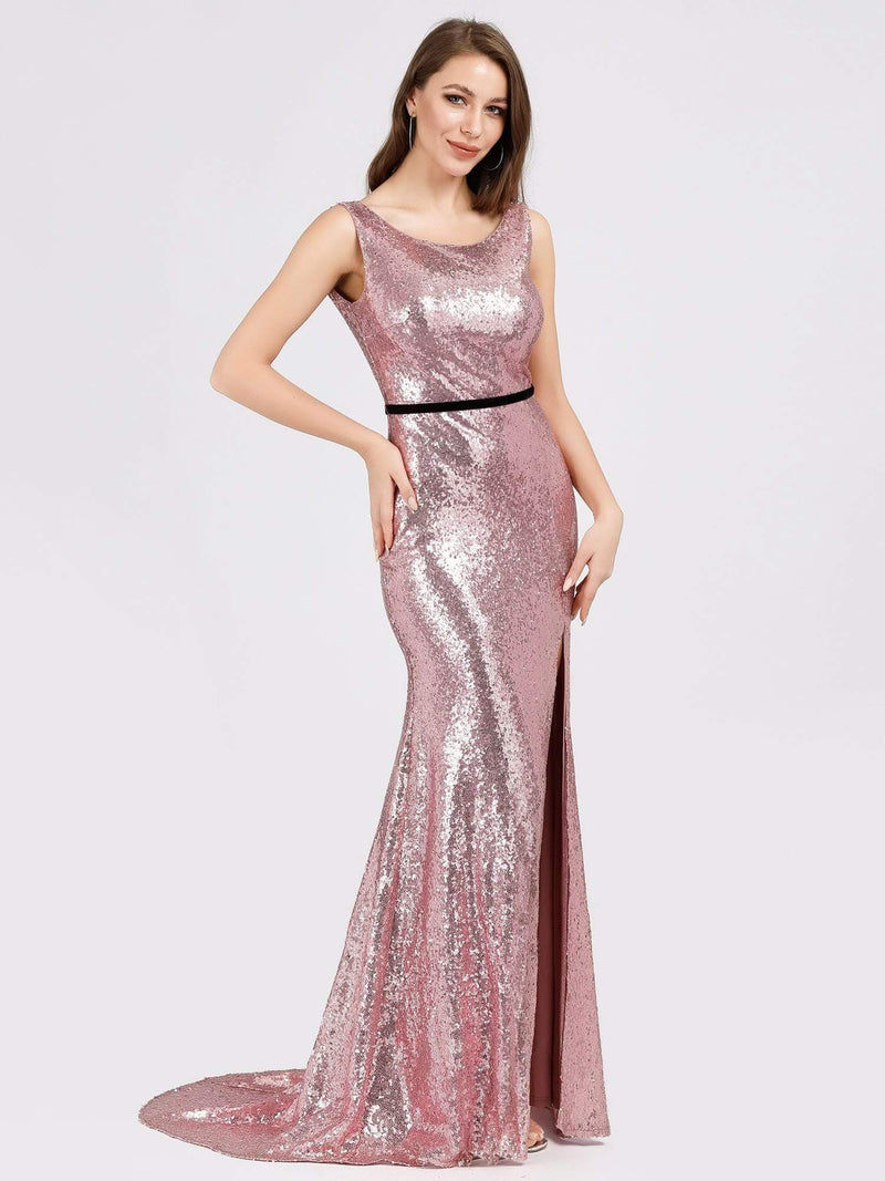 Backless Sequin Fishtail Dresses With Side Split-Purple Orchid 4