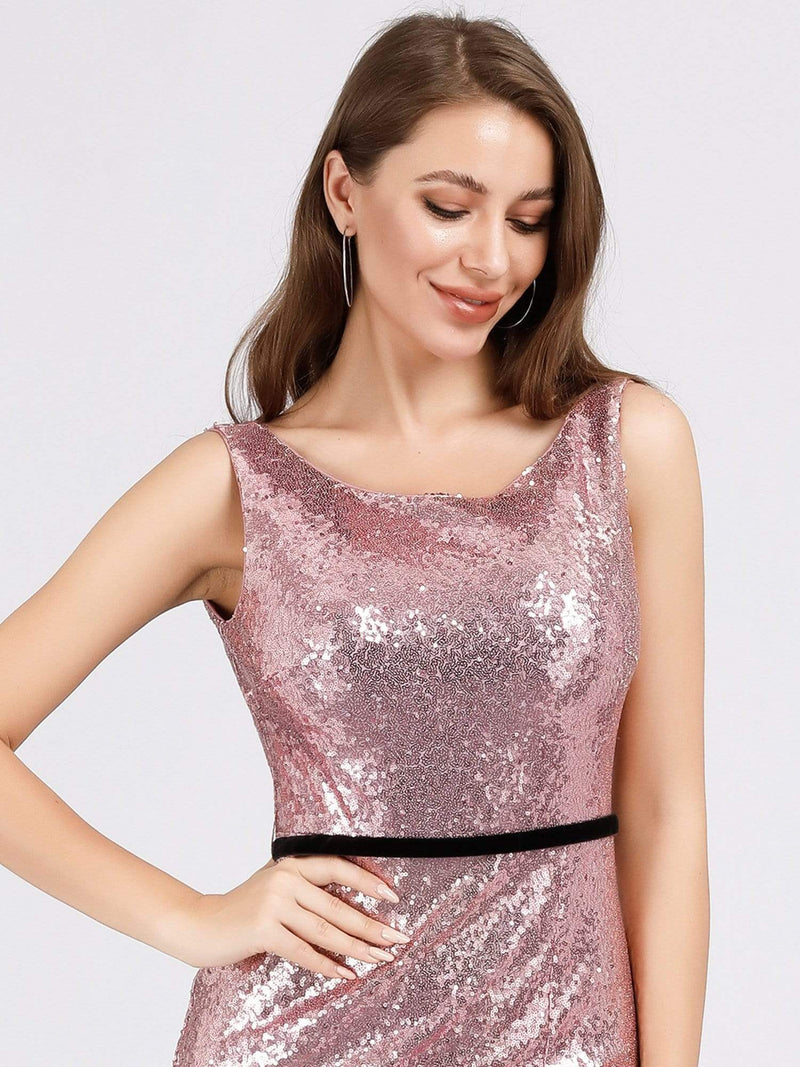 Backless Sequin Fishtail Dresses With Side Split-Purple Orchid 5