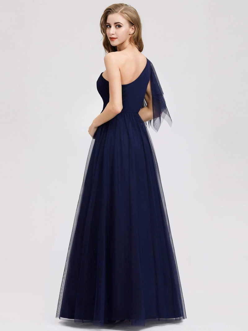 Women'S A-Line One Shoulder Evening Party Maxi Dress-Navy Blue 2