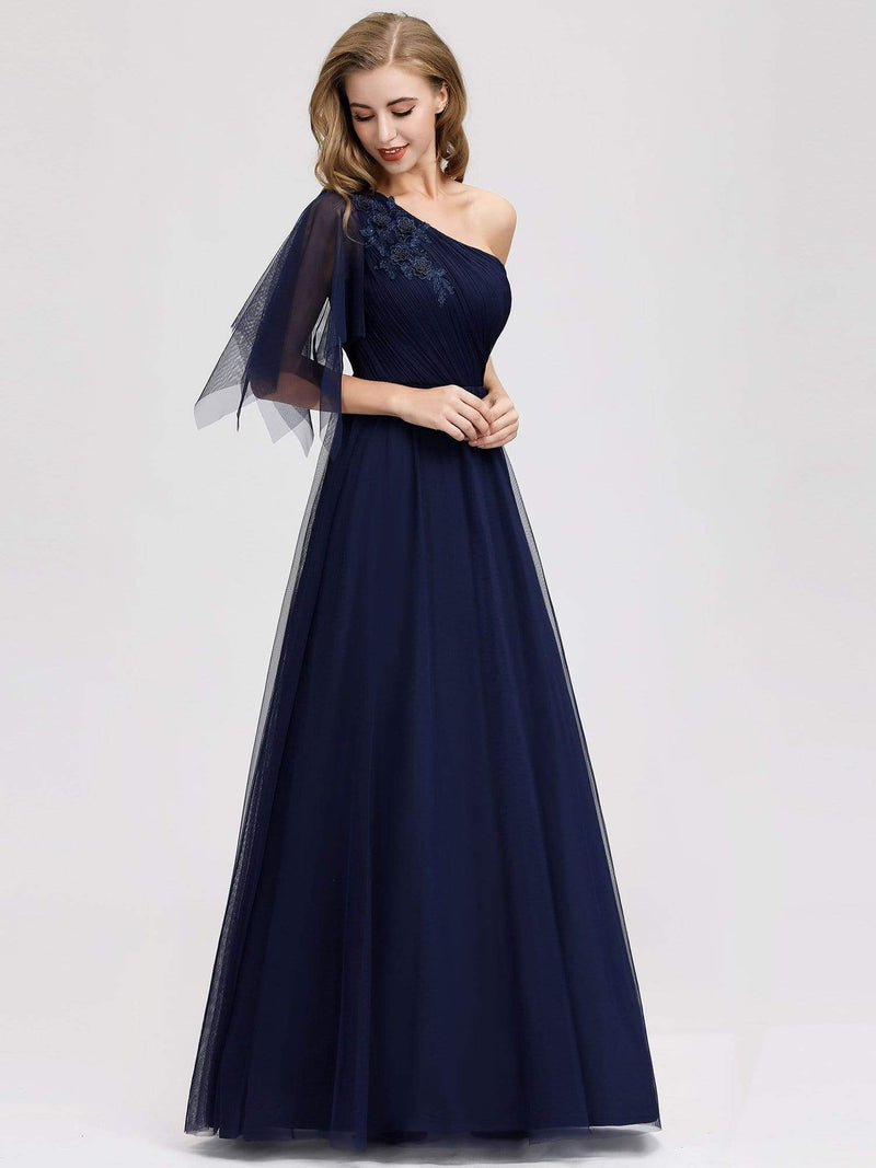 Women'S A-Line One Shoulder Evening Party Maxi Dress-Navy Blue 3