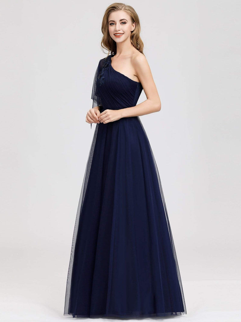 Women'S A-Line One Shoulder Evening Party Maxi Dress-Navy Blue 4