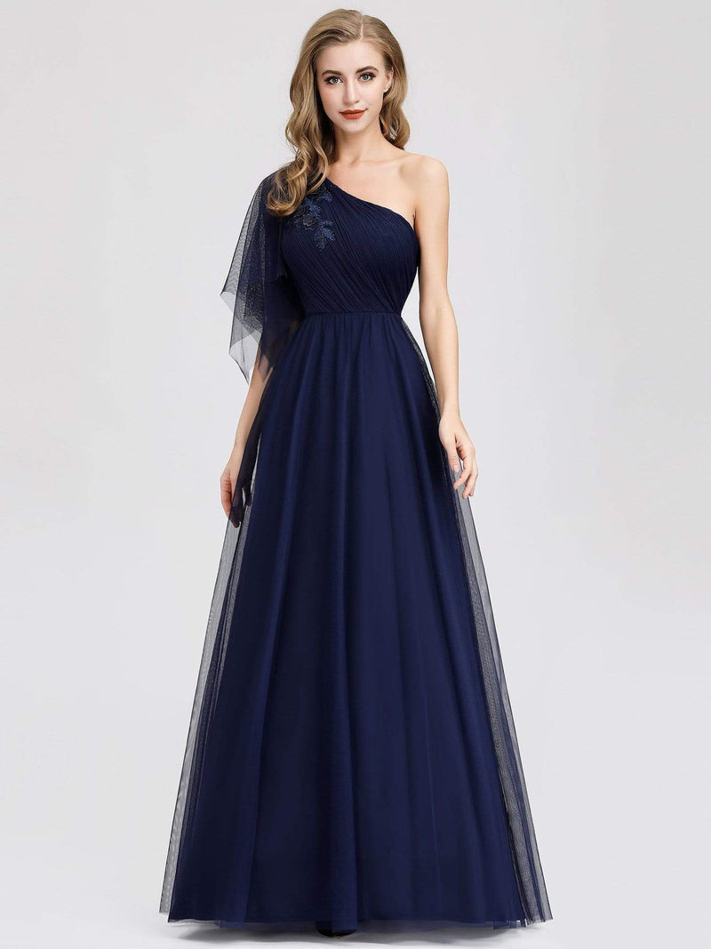 Women'S A-Line One Shoulder Evening Party Maxi Dress-Navy Blue 1