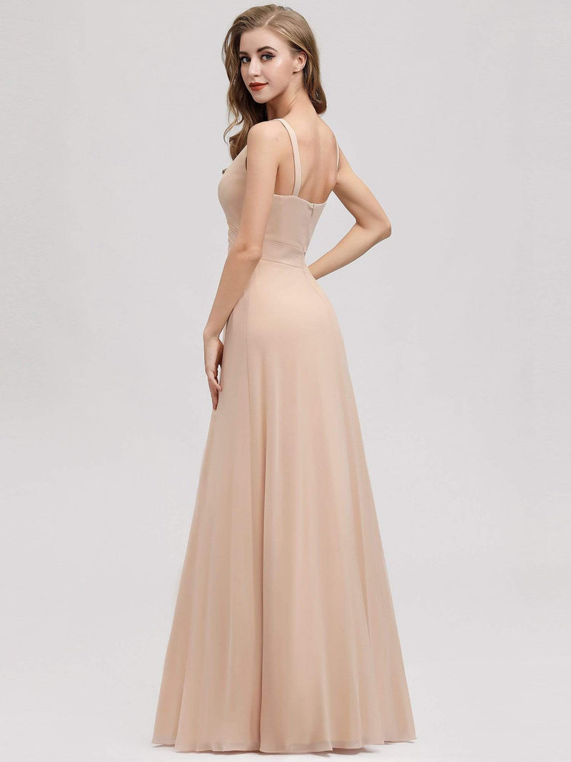 Women'S A-Line Sleeveless Evening Gowns Wedding Party Bridesmaid Dress-Blush 2