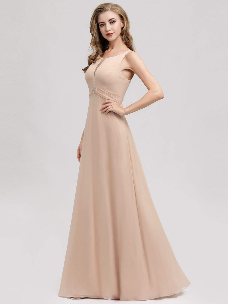 Women'S A-Line Sleeveless Evening Gowns Wedding Party Bridesmaid Dress-Blush 3