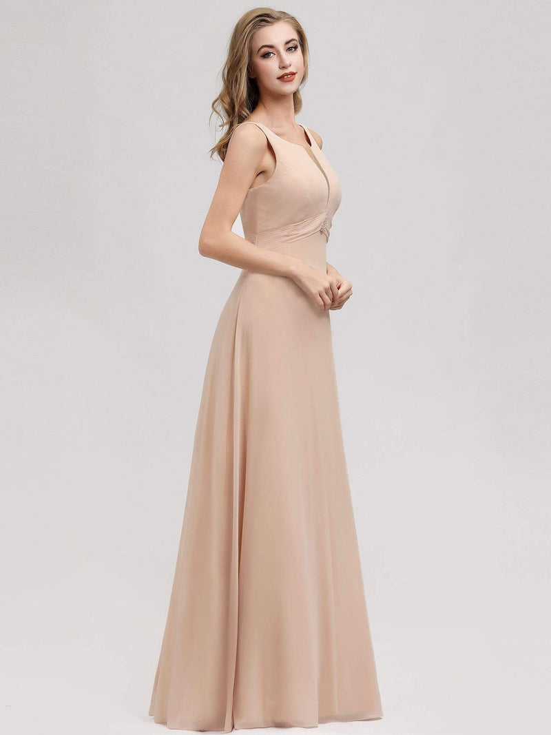 Women'S A-Line Sleeveless Evening Gowns Wedding Party Bridesmaid Dress-Blush 4