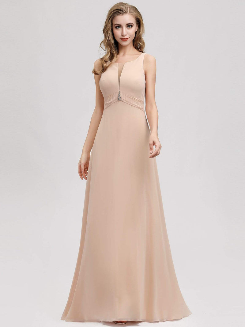Women'S A-Line Sleeveless Evening Gowns Wedding Party Bridesmaid Dress-Blush 1
