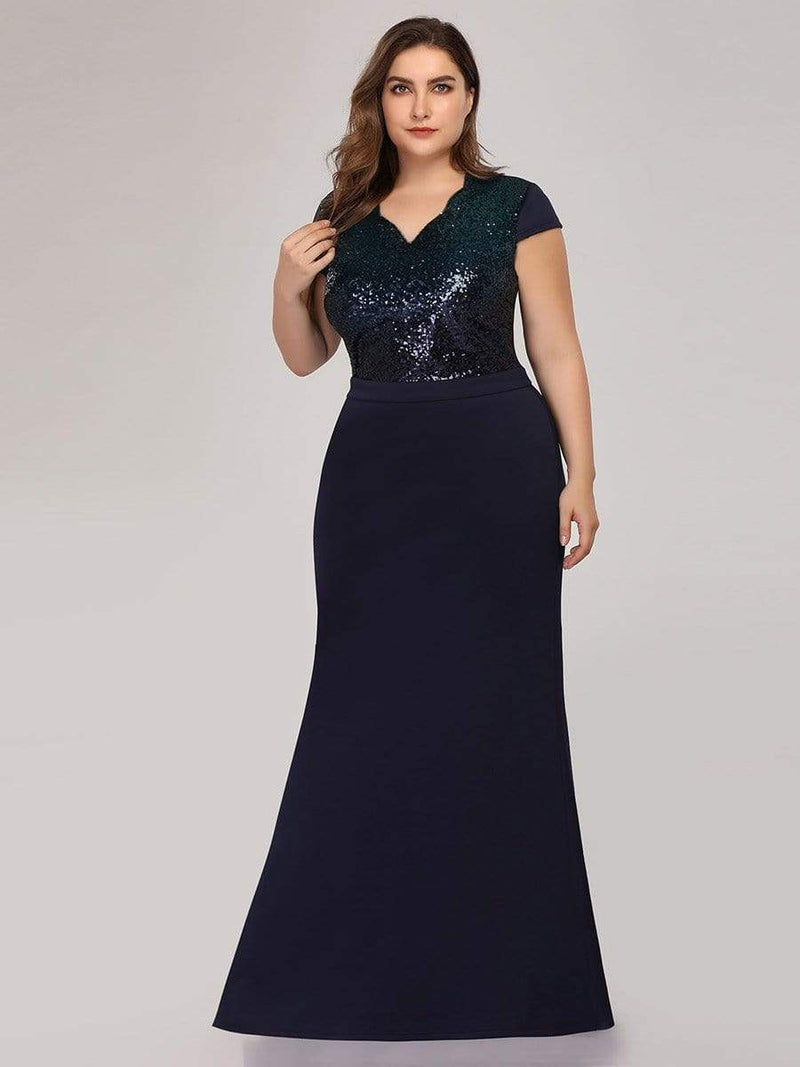 Women'S V-Neck Sequin Dress Evening Party Mermaid Dress-Navy Blue 3