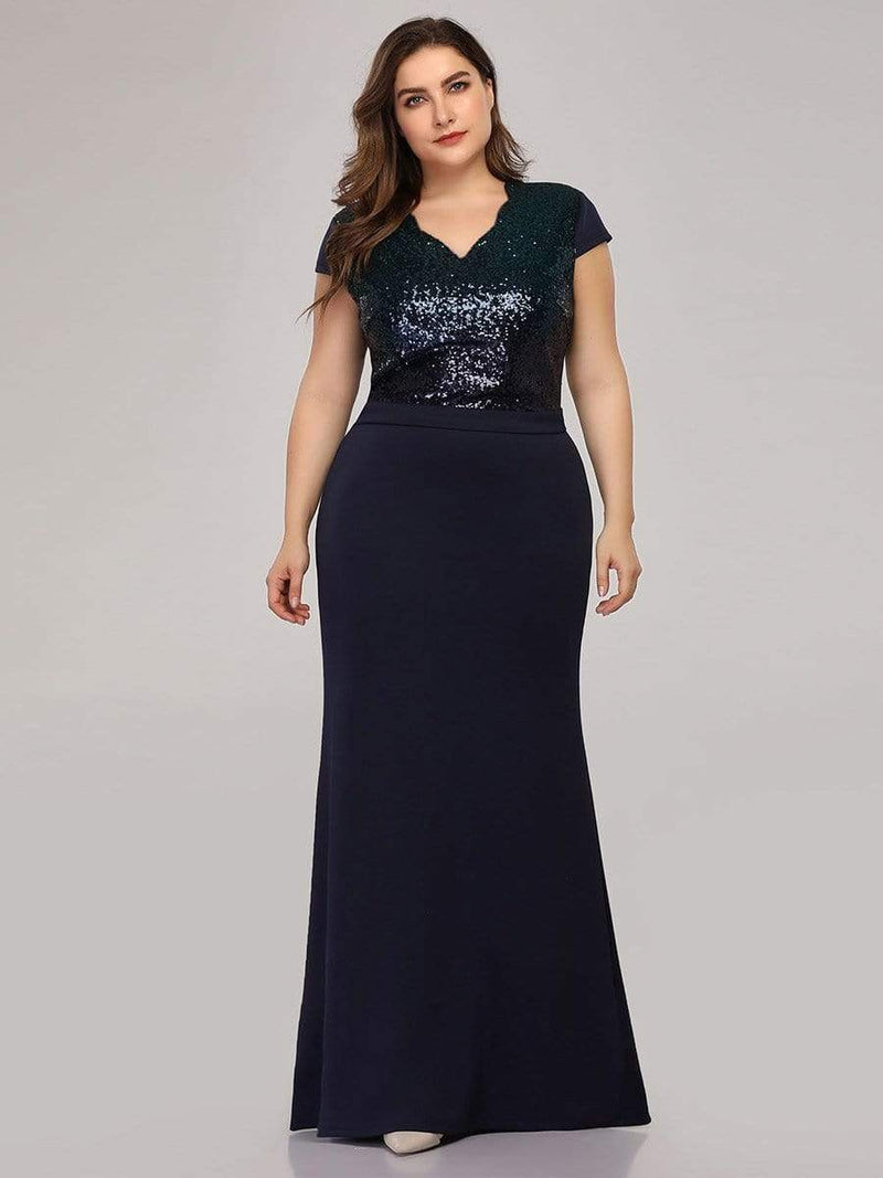 Women'S V-Neck Sequin Dress Evening Party Mermaid Dress-Navy Blue 4